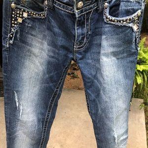 MISS ME Jeans Medium Blue Inseam 32.